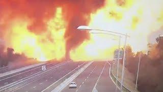 CCTV captures moment of huge tanker truck explosion in Italy