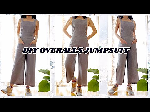 DIY Overalls🌻Pinafore Jumpsuit /How to Make Wide Leg Overall/ 手作り服+ソーイング/ Sewing Tutorialㅣmadebyaya