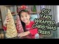 DIY Yarn Wrapped Christmas Trees | Sparkly Christmas Tree Craft | Cheap Holiday Decor Tutorials