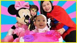 New Baby First Time Sitting in Disney Chair, Best Learning Videos Learn Colors Baby Finger Family