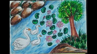 Swan in river with lotus scenery drawing   swan scenery   oil pastel drawing