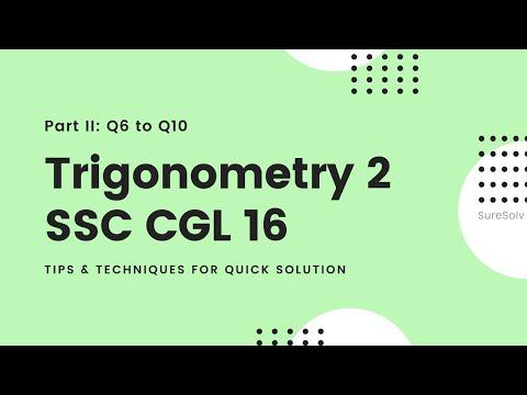 SSC CGL level Question Set 16, Trigonometry | SureSolv