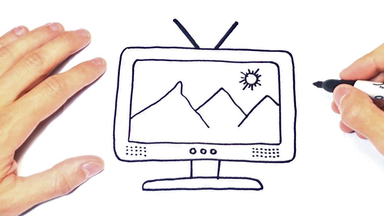 Como Dibujar Un Televisor O Tv Paso A Paso Youtube