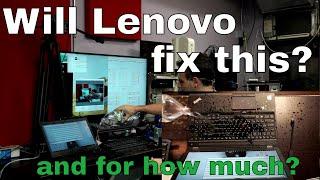 Lenovo vs. Apple service featuring a liquid damaged Thinkpad.