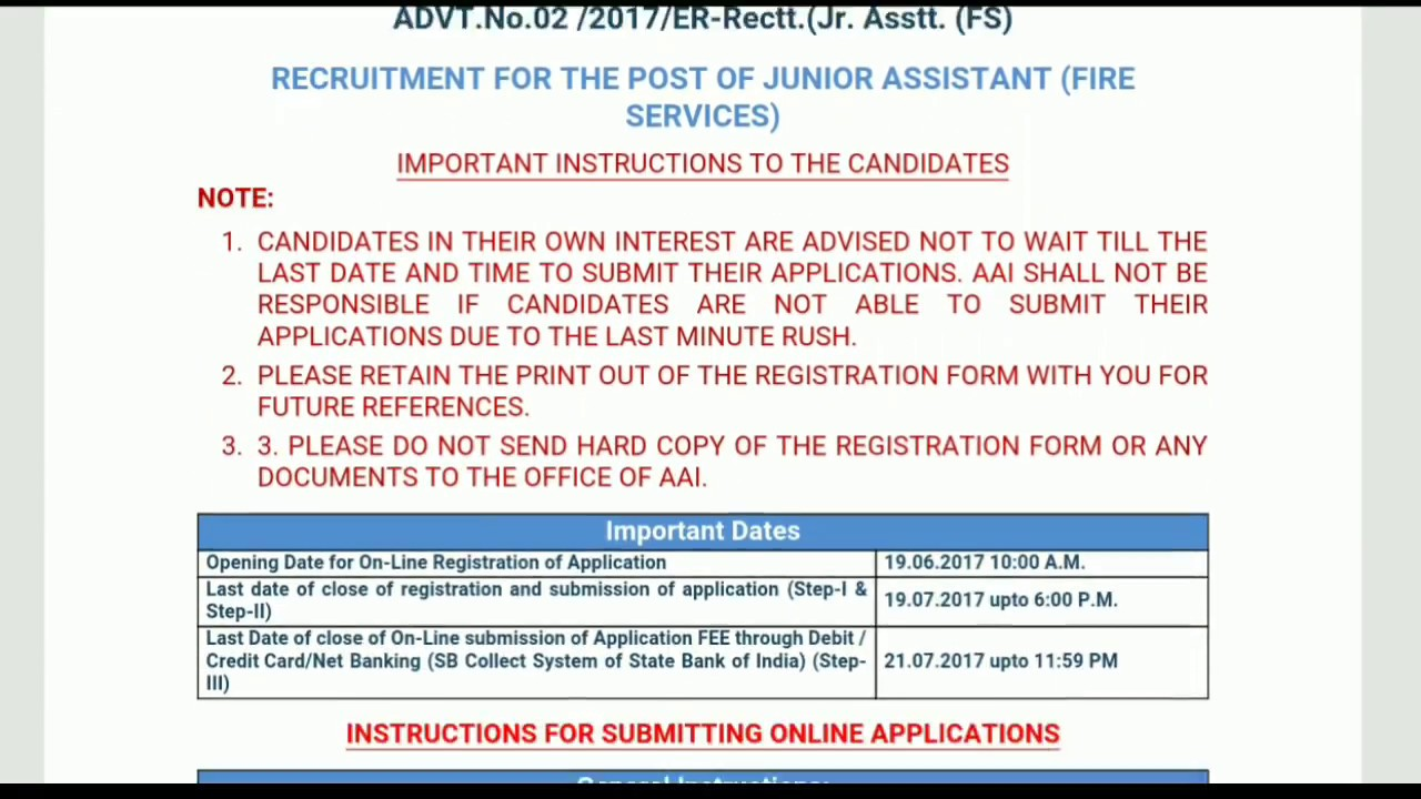 AAI Recruitment 2017 for Junior Assistant Fire Service Jobs YouTube – Fire Service Application Form