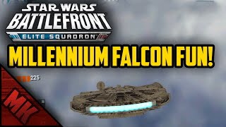 MILLENNIUM FALCON FUN! - (Battlefront Elite Squadron Gameplay)