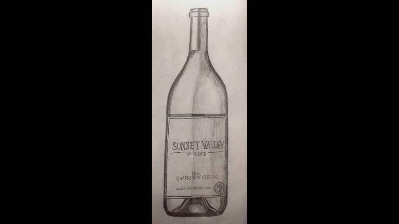how to draw a wine bottle youtube