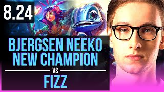 Bjergsen NEEKO vs FIZZ (MID) | New Champion, 2 early solo kills, KDA 19/5/12 | NA Master | v8.24