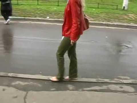 Katya walking barefoot