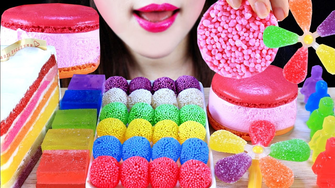 ASMR 🍧RAINBOW KOHAKUTOU CAKE JELLY MACARON BEAD ICECREAM LEGO PINWHEEL JELLY CANDYS 무지개 코하쿠토 레고 젤리
