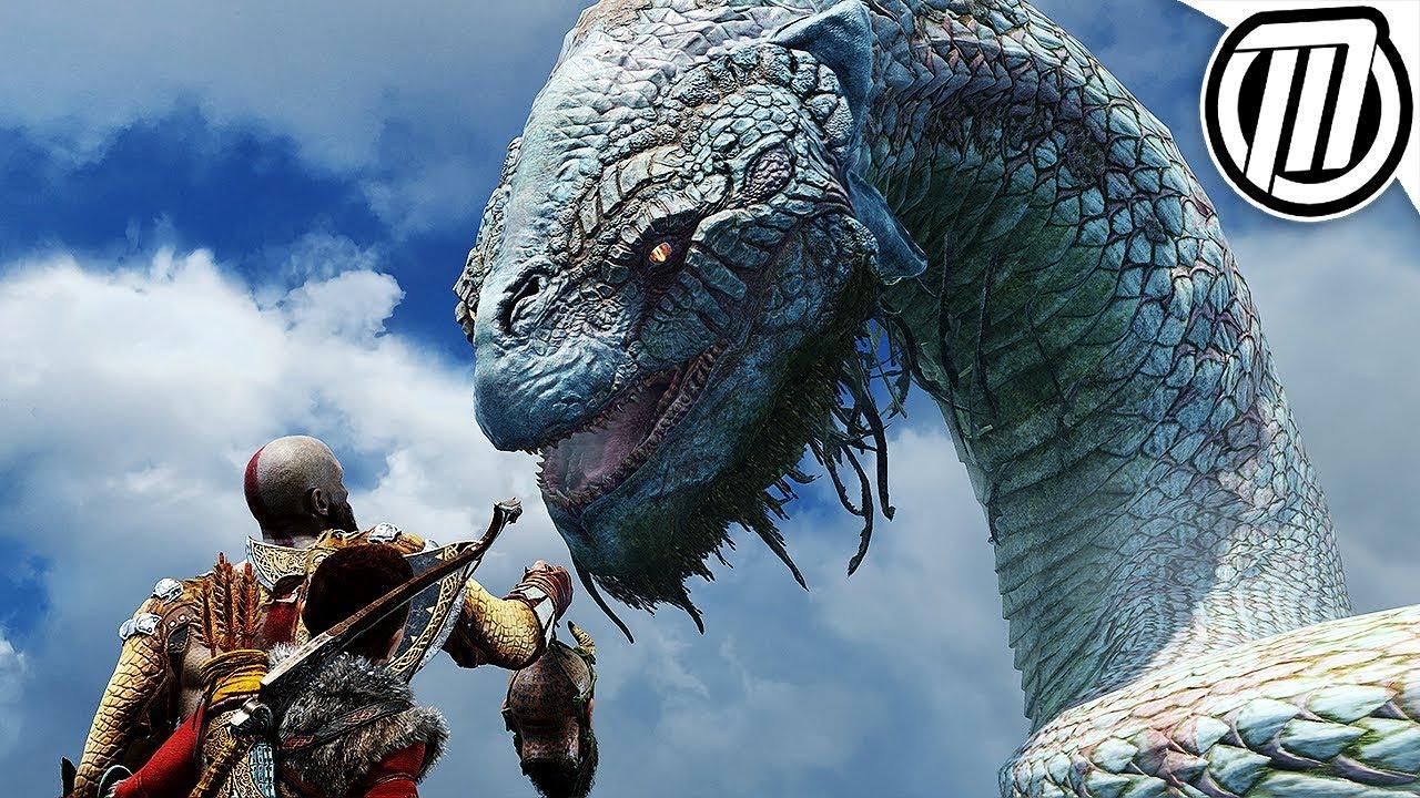God of war 4 all world serpent cutscenes 4k j rmungandr - God of war jormungandr ...