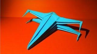 Как сделать самолёт из бумаги  Оригами  самолёт. X-Wing(Космический истребитель X-Wing из звёздных воин (Star Wars), 2016-09-23T04:32:17.000Z)