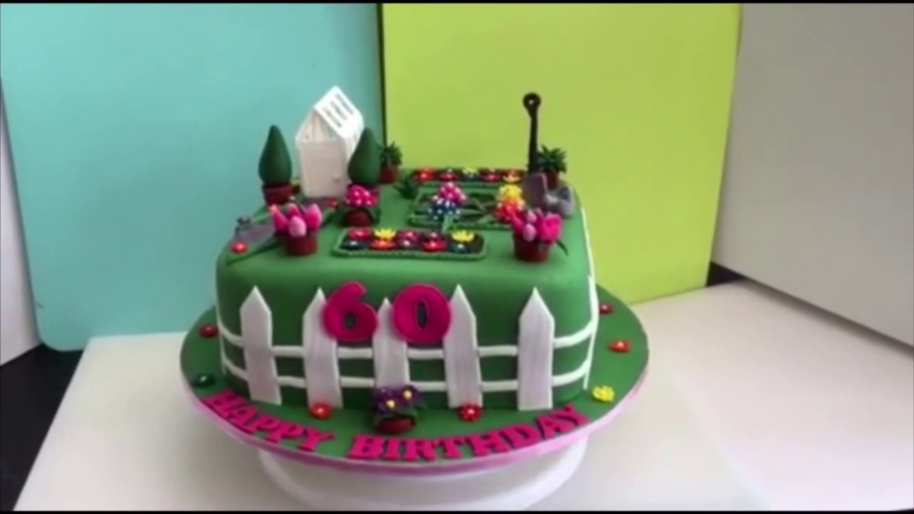 Gardening flower garden cake youtube for Gardening 80th birthday cake