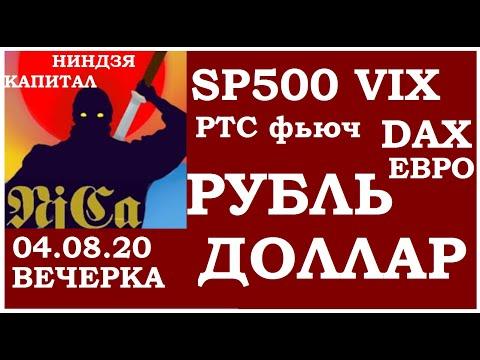 Курс ДОЛЛАРА на сегодня,курс рубля,курс евро, РТС,DXY,SP500,VIX,NASDAQ,DAX, 04.08.20 вечерка