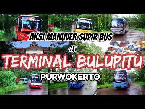 Aksi Manuver Supir Bus di Terminal Bulupitu Purwokerto #OM TELOLET OM