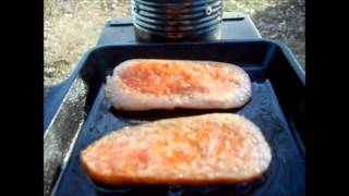 Cooking Turkey Spam on the Ammo Can Stove