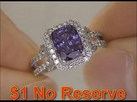 Estate Natural Purple Sapphire & Diamond Engagement Wedding Ring