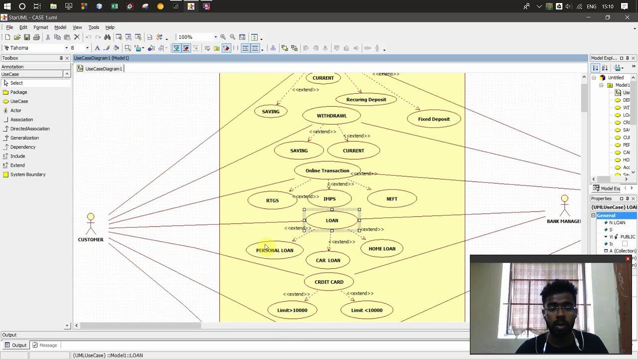 Use Case Diagram | Banking System| Star UML - YouTube