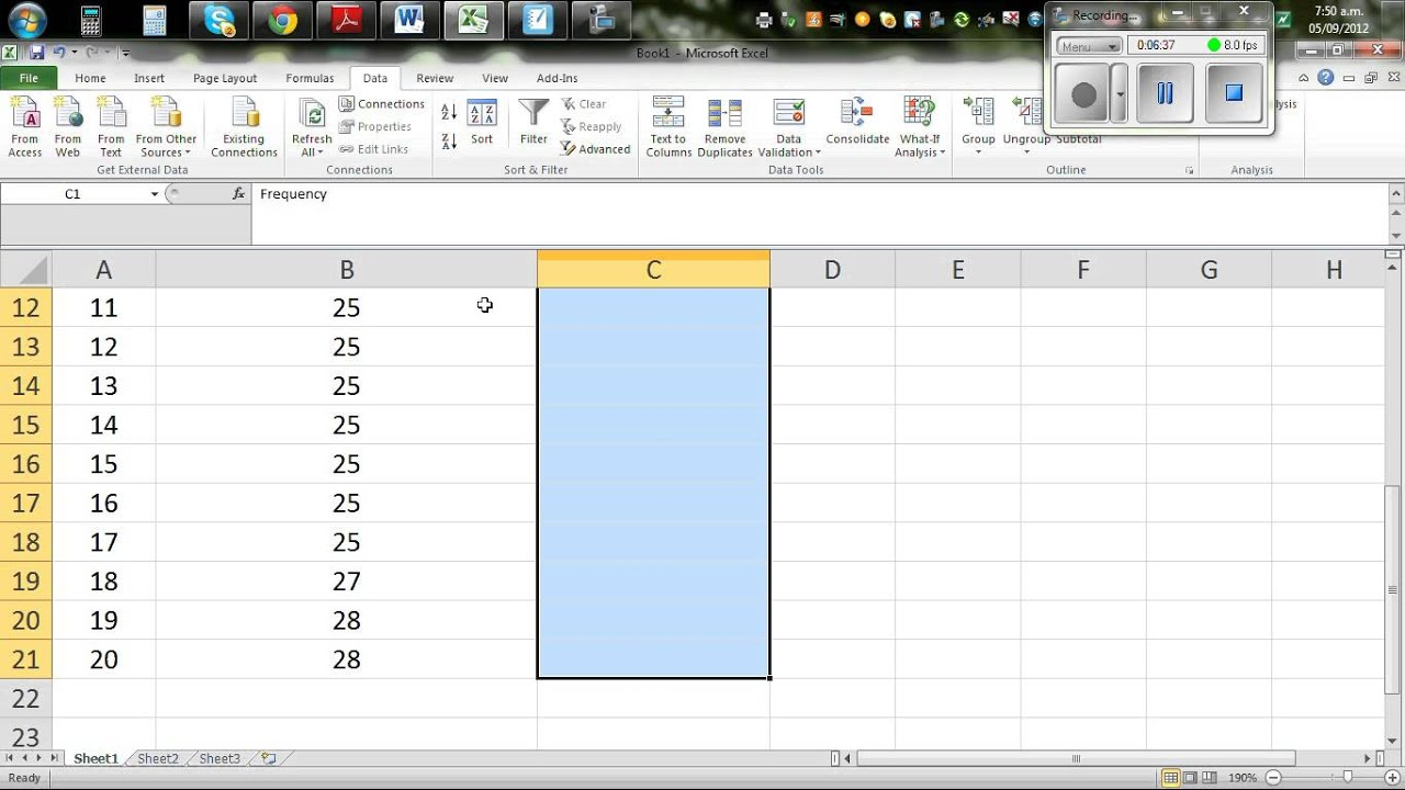 Drawing Lines Excel Spreadsheet : Drawing dot plot by hand and excel youtube