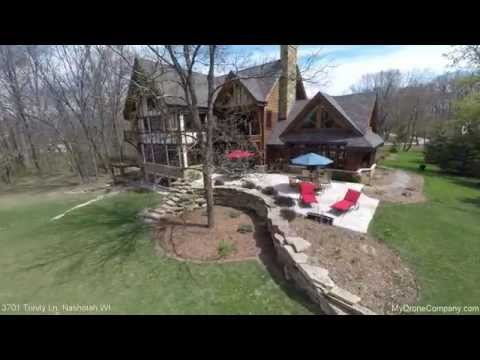 Aerial video of 3701 Trinity Ln, Nashotah WI