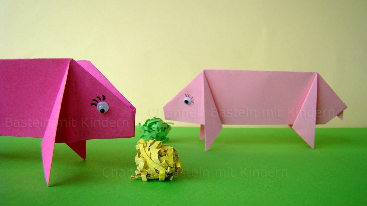 Origami Schwein Basteln Mit Kindern Einfache Bastelideen Mit