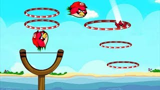 Angry Birds Sling Shot Fun 2 - RED BIRDS RUSHING STRAIGHT THROUGH RINGS!