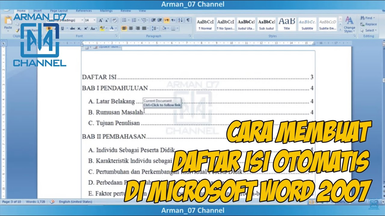 Cara Membuat Daftar Isi Otomatis Di Microsoft Word 2007 Youtube
