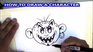 How to draw graffiti character face - como dibujar una cara boceto graffiti - tutorial