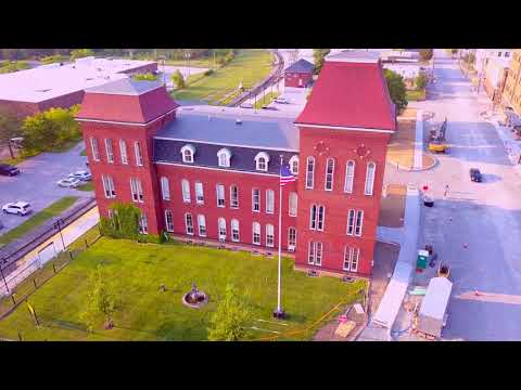 St. Albans Vermont Flags Flying - Photo Flight Video