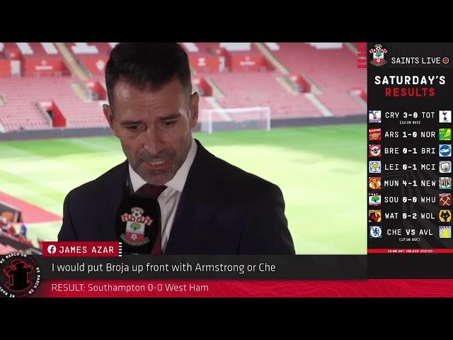 Southampton 0-0 West Ham   SAINTS LIVE: The Final Whistle