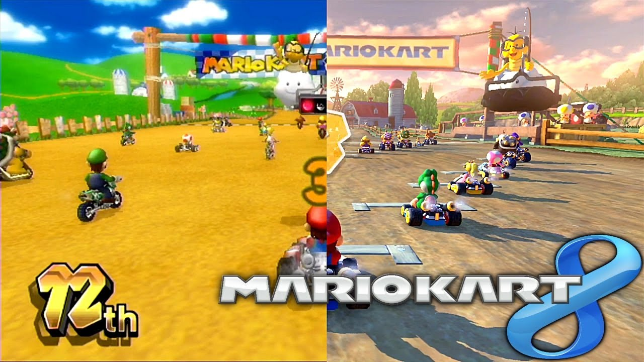 mario kart 8 wii vs wii u comparison moo moo meadows youtube