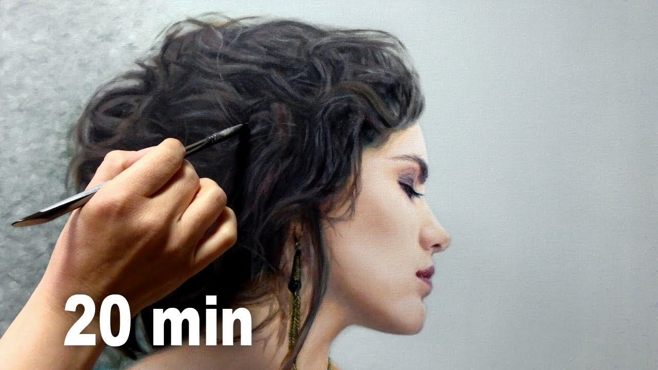 REALISTIC OIL PAINTING DEMO - hair / messy bun / chignon by Isabelle Richard
