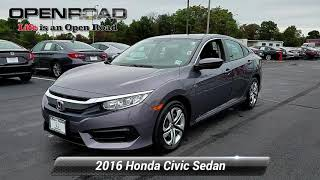 Certified 2016 Honda Civic Sedan LX, Edison, NJ 11081P