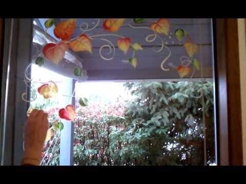 Holiday Window Painting - Fall leaves border tutorial ...