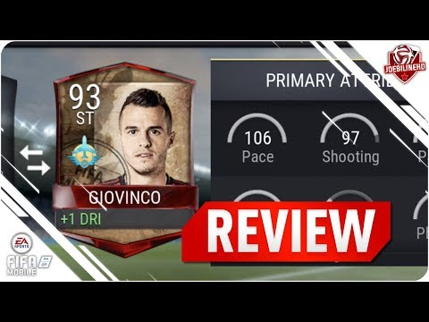 FIFA MOBILE 93 GT GIOVINCO LIVE REVIEW #FIFAMOBILE 93 GLOBAL TOUR GIOVINCO PLAYER REVIEW GAMEPLAY