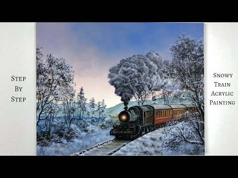 Snowy Train STEP by STEP Acrylic Painting (ColorByFeliks)