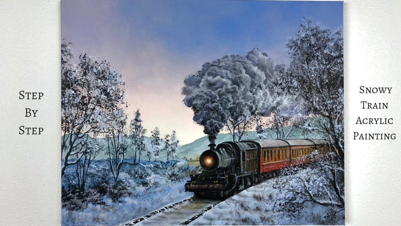 snowy train step  step acrylic painting colorbyfeliks youtube