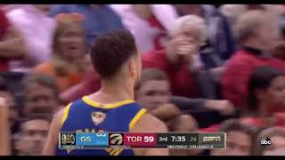 Klay hits the three then STARED at the Raptors bench & is hyped