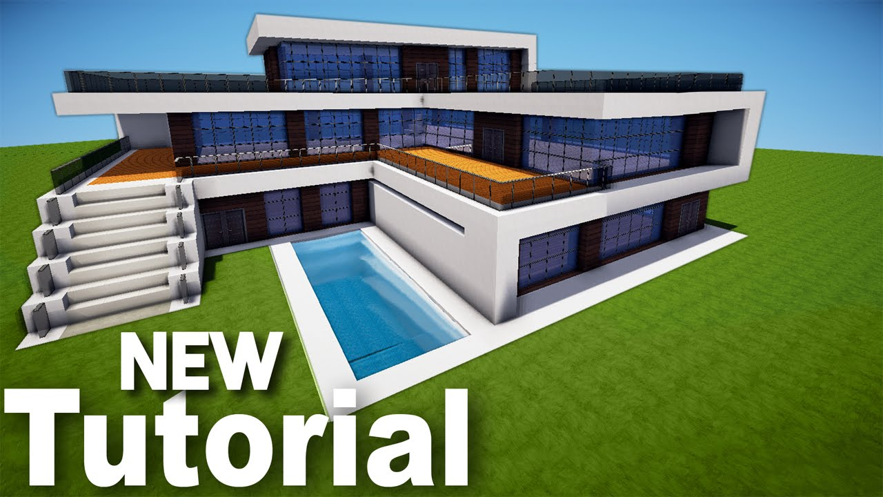 Minecraft how to build a realistic modern house best mansion 2016 tutorial - Modern house minecraft ...