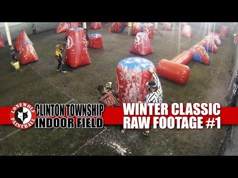 Winter Classic 3-Man Tournament Raw Bird's Eye Footage #1 Lone Wolf Paintball Michigan