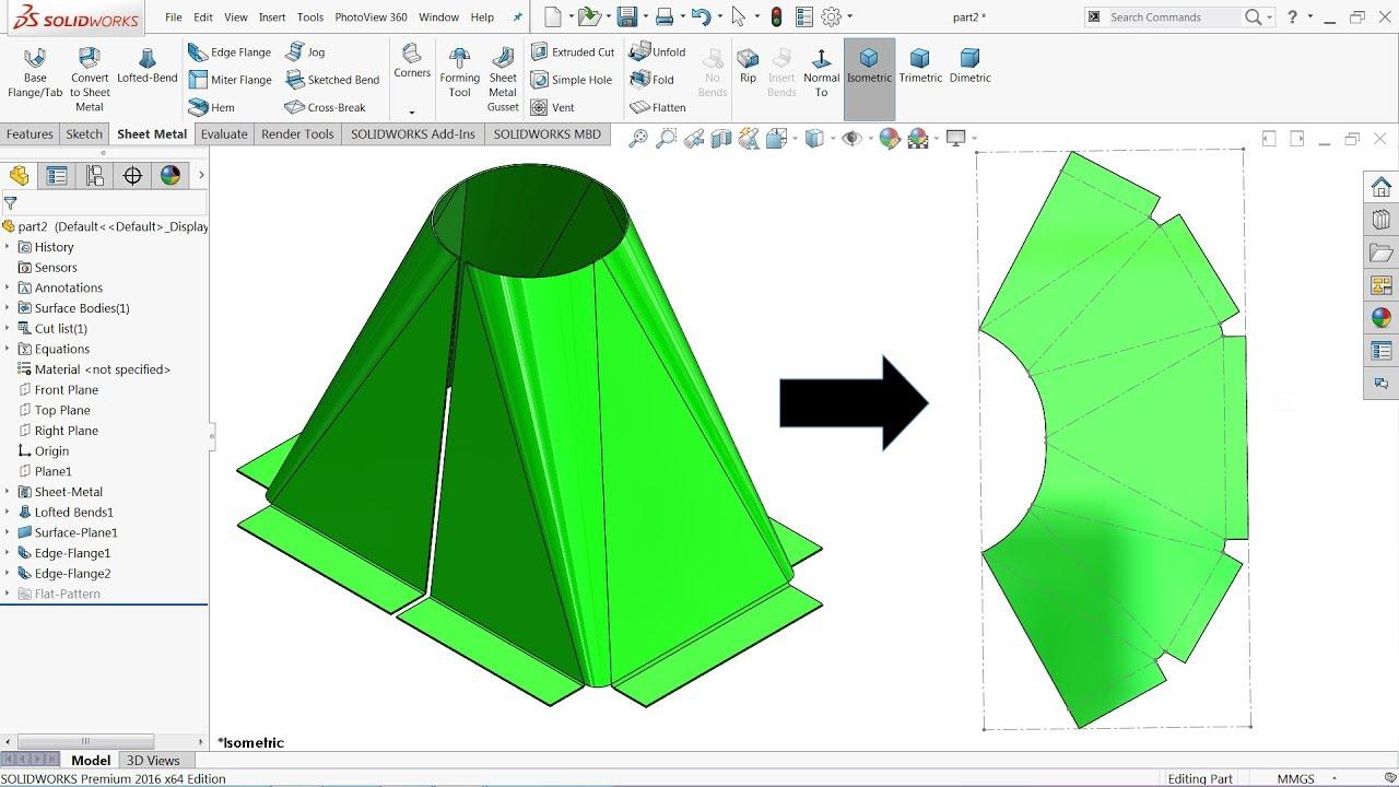 Solidworks Sheet Metal Tutorial Calculate Hopper In Flat