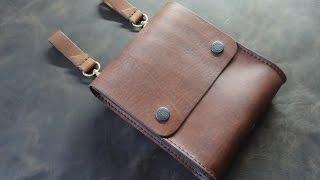 Уроки работы с кожей. Сумка на пояс. Making leather pouch