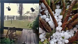 Neviđena oluja u Konjicu razbija automobile: Veliko nevrijeme uplašilo građane