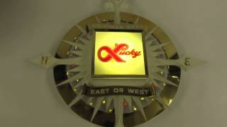 LUCKY LAGER COMPASS ROSE BACKBAR ILLUMINATED BEER SIGN in BOX