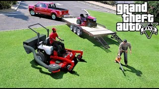 GTA 5 REAL LIFE MOD #78 Starting A Lawn Care Company -  New Shop, F-350 & Exmark Lawn Mower
