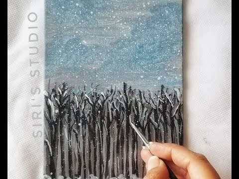 Acrylic Winter landscape painting – Timelapse | Waiting for spring – Siri's Studio