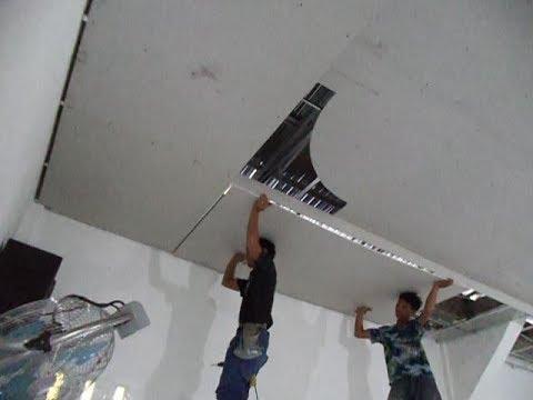 memasang plafon baja ringan gypsum rangka puring motip kolam youtube