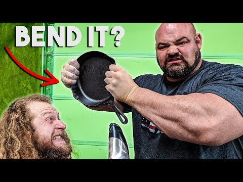 450LB MAN BENDS CAST IRON PAN (Frying Pan Fold?)
