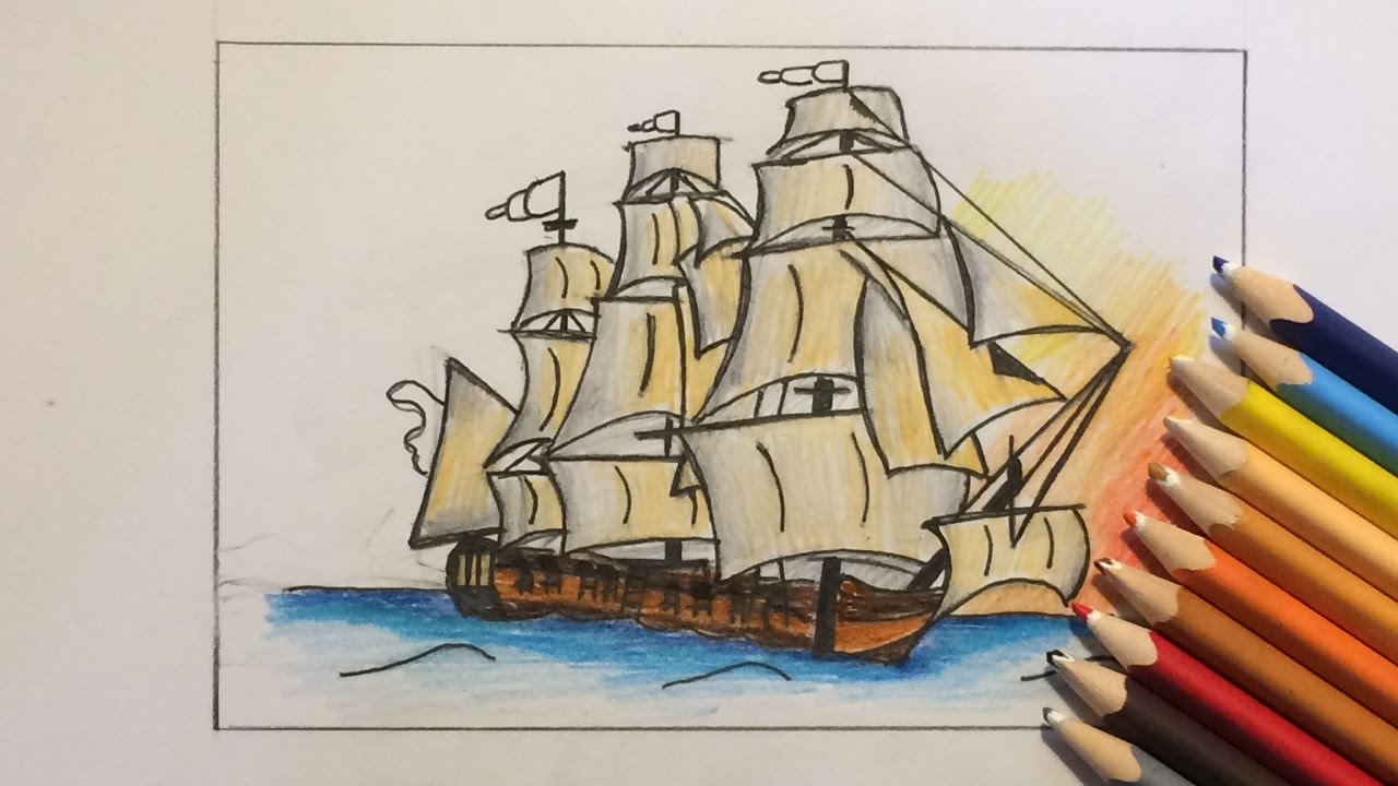 how to draw realistic battle ship pirate ship through time