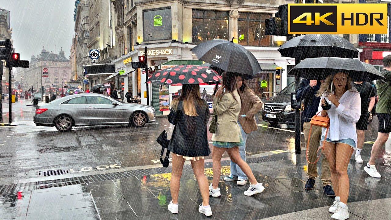Download Heavy Rain in Central-June 2021🌧 London Rain Walk🌧 ASMR Relaxing Rain [4K HDR]